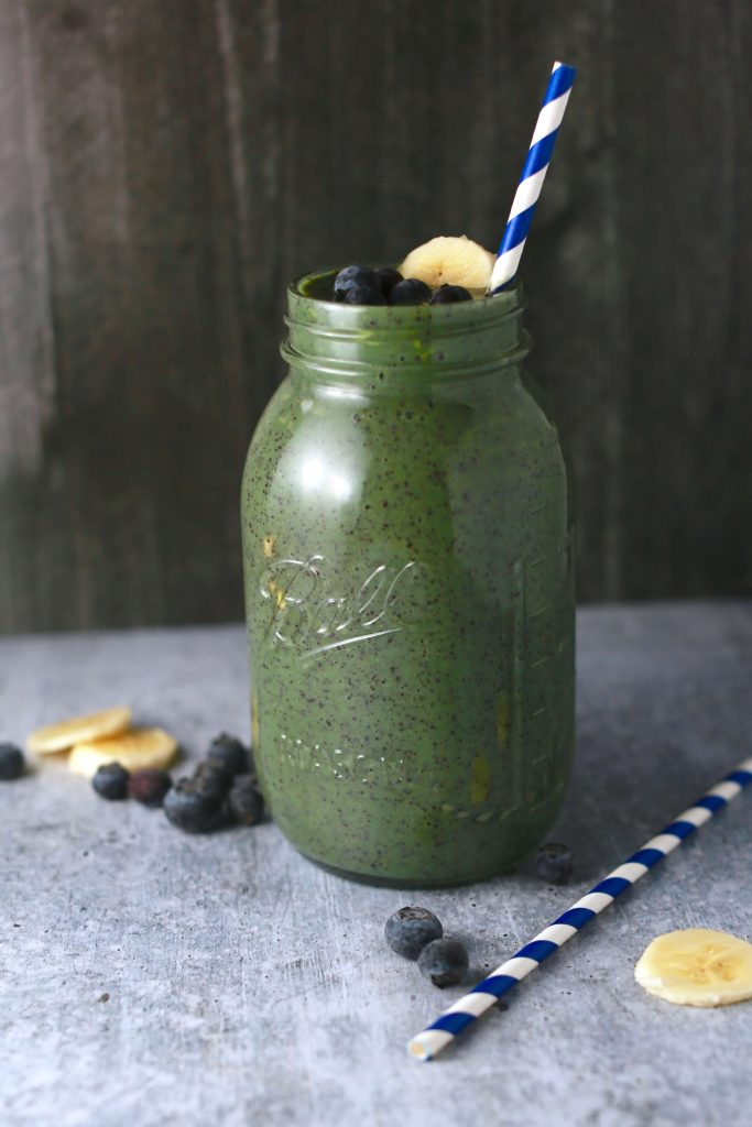 Blue and green blueberry avocado smoothie_3