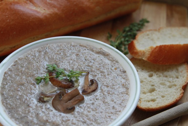 Cream of mushroom soup is for dinner on a cold day