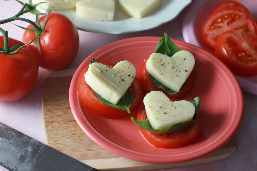 Fall in love with these 5 Easy Valentine's Day snack ideas - Caprese salad