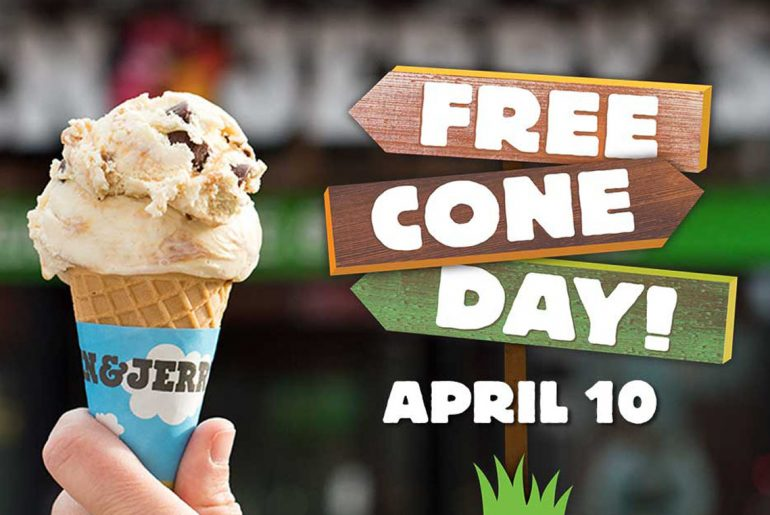 Get endless free ice cream at Ben & Jerry's on April 10 during Free Cone Day