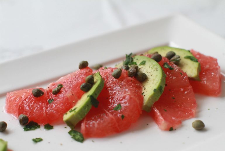 Grapefruit, avocado, capers, a flavorful salad for all seasons