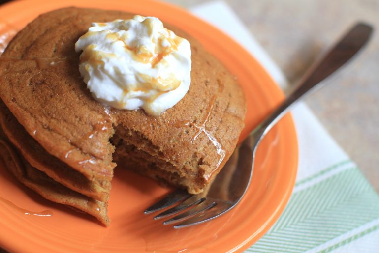 Enjoy this recipe for easy, gluten-free pumpkin pancakes.