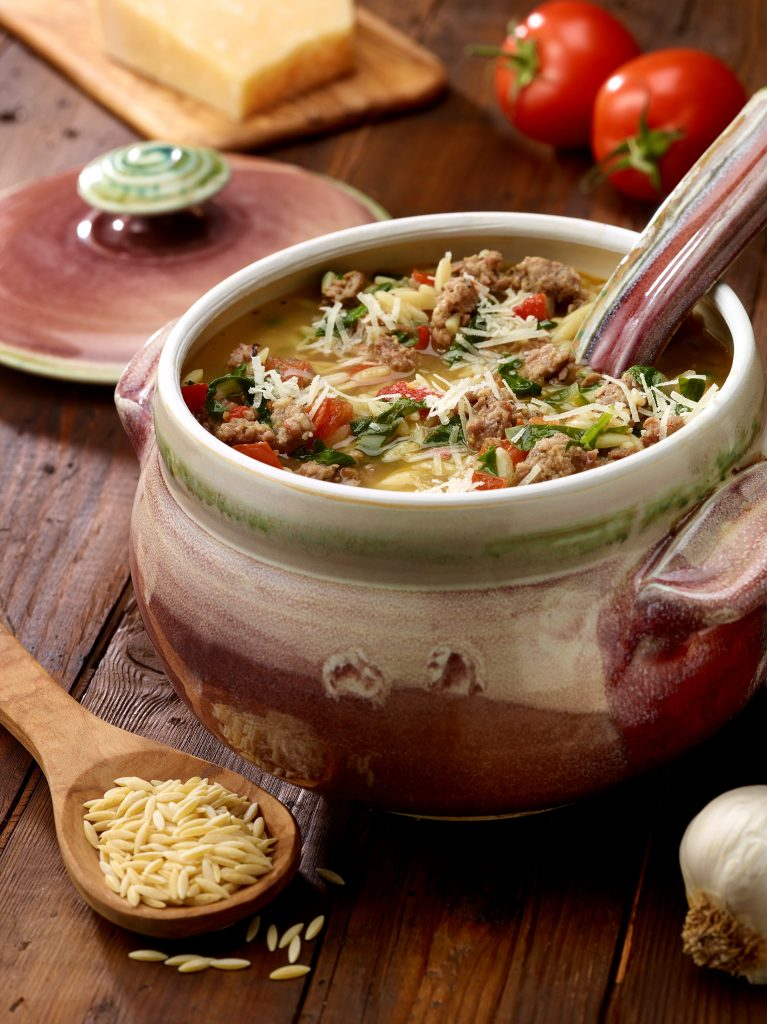 Italian Sausage Spinach and Orzo Soup