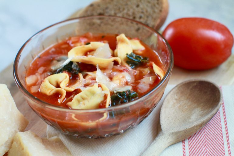 One-pot Rustic Tomato Tortellini Soup with kale