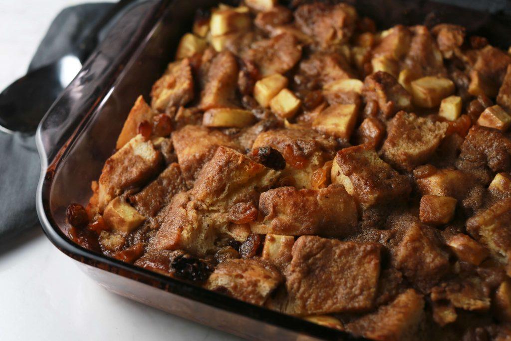 Overnight apple cinnamon raisin french toast casserole