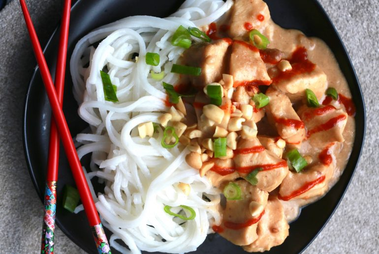 Saucy Slow Cooker Thai Peanut Chicken