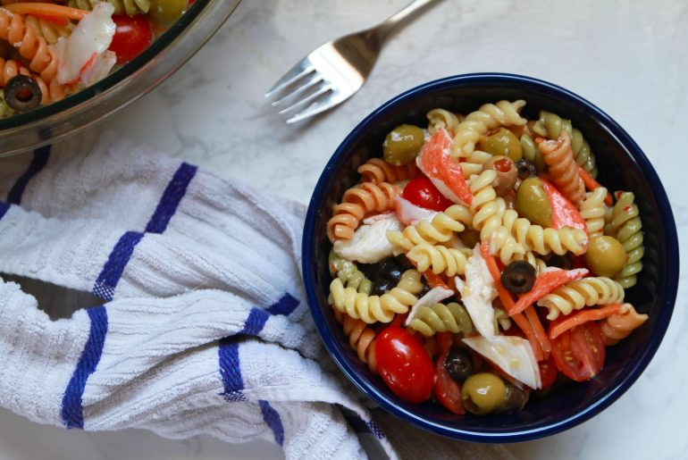 Tri-colored rotini and crab pasta salad