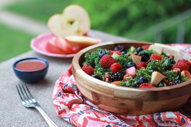 Triple berry kale walnut salad celebrates summer