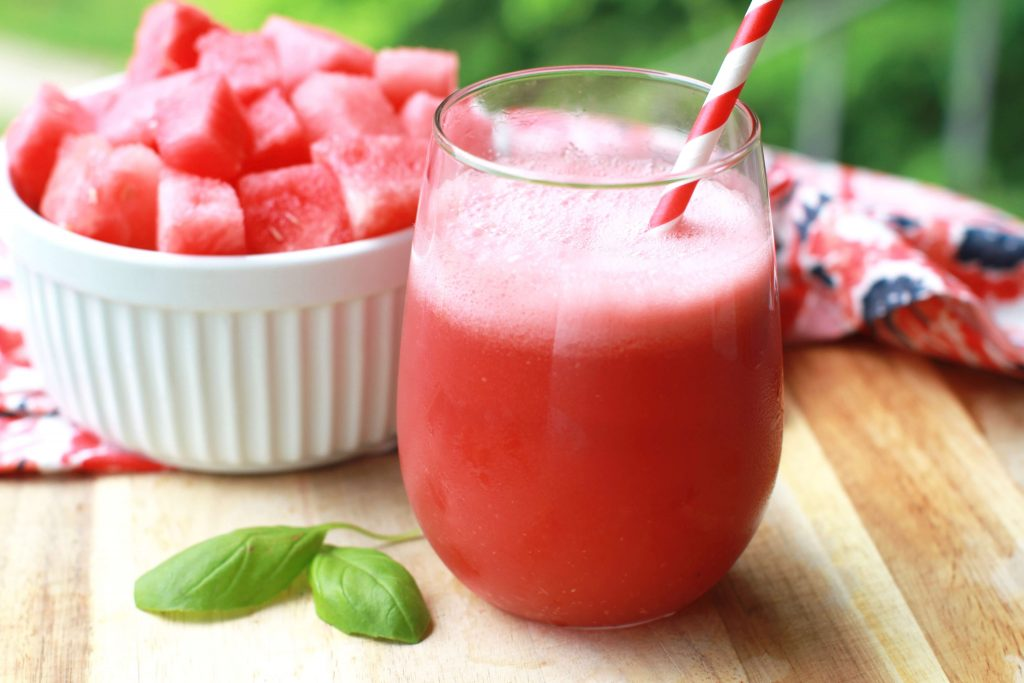 Watermelon, coconut water, basil smoothie-2