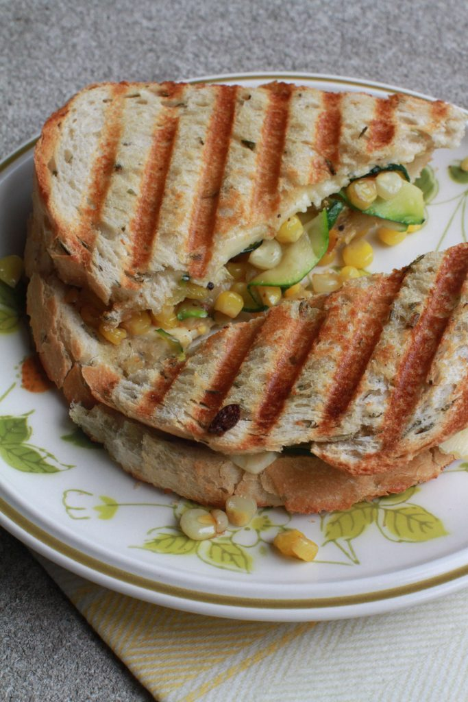 Zucchini Panini with corn and goat cheese3