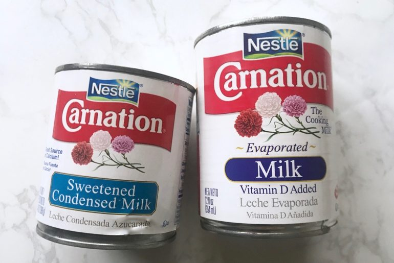 This is the difference between evaporated milk and condensed milk